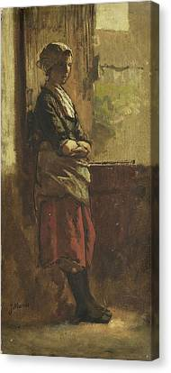 Girl At The Window Canvas Print by jacob Maris