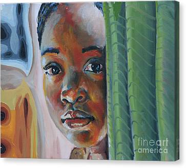 Girl Behind The Green Curtain Canvas Print