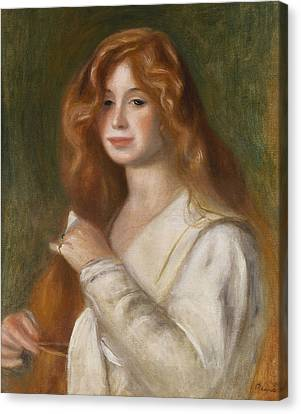 Long Bed Canvas Print - Girl Combing Her Hair by Pierre Auguste Renoir