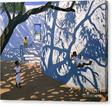 Dappled Light Canvas Print - Girl On A Swing India by Andrew Macara