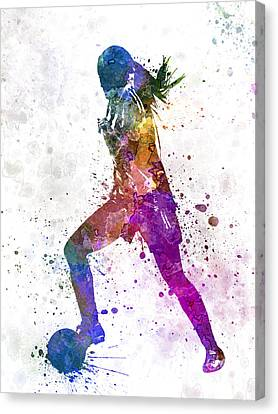 Girl Playing Soccer Football Player Silhouette Canvas Print by Pablo Romero