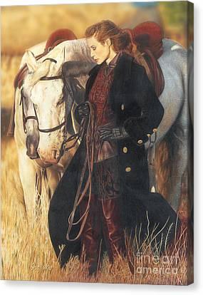 Girl With Horses Canvas Print by Bretislav Stejskal