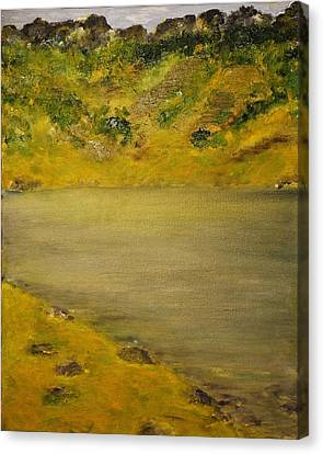 Canvas Print featuring the painting Glacial Lake by Evelina Popilian