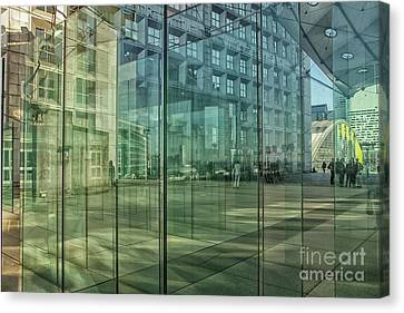 Canvas Print featuring the photograph Glass Panels At Le Grande Arche by Patricia Hofmeester