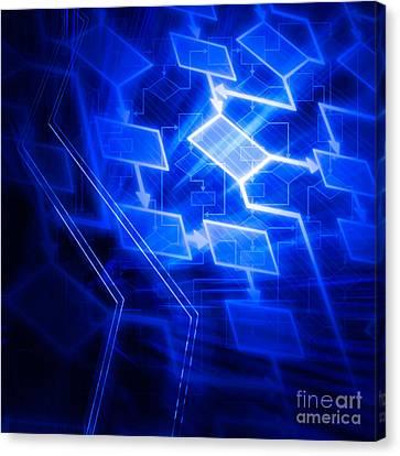Glowing Blue Flowchart Canvas Print