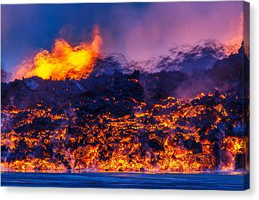 Glowing Lava From The Eruption Canvas Print by Panoramic Images