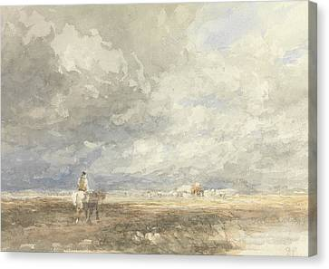 Going To The Hayfield Canvas Print by David Cox