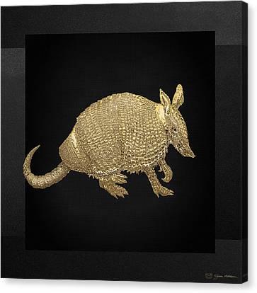 Animals Canvas Print - Gold Armadillo On Black Canvas by Serge Averbukh