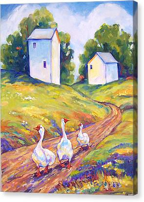 Goose Walk Canvas Print by Peggy Wilson