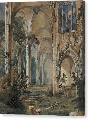 Gothic Church Ruin Canvas Print by Carl Blechen
