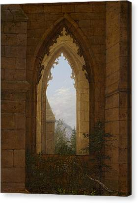 Gothic Windows In The Ruins Of The Monastery At Oybin Canvas Print by Carl Gustav Carus