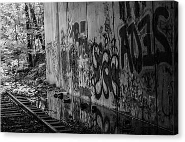 Graffitti And Train Tracks Canvas Print