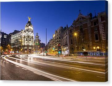 Gran Via Of Madrid, Spain Canvas Print by David Ortega Baglietto