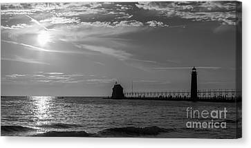 Poster Panorama Grand Haven Lighthouse Panoramic Fine Art Black and White Print