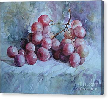 Canvas Print featuring the painting Grapes... by Elena Oleniuc