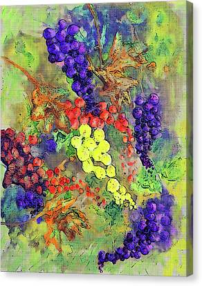 Malbec Canvas Print - Grapes On The Vine Art 3 by Ken Figurski
