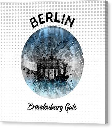 Graphic Art Berlin Brandenburg Gate Canvas Print by Melanie Viola
