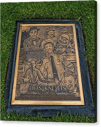 Gravesite Of Don Knotts - Westwood Cemetery Canvas Print by Mountain Dreams