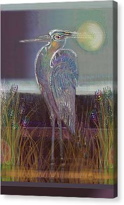 Great Blue Heron Canvas Print by Lydia L Kramer