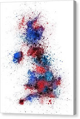 United Kingdom Canvas Print - Great Britain Uk Map Paint Splashes by Michael Tompsett