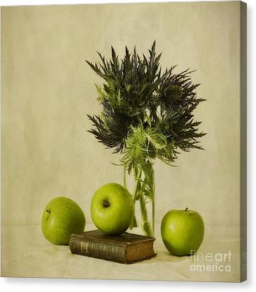 Green Apples And Blue Thistles Canvas Print by Priska Wettstein