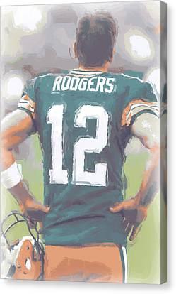 Green Bay Packers Aaron Rodgers Canvas Print by Joe Hamilton