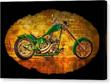 Two Wheeler Canvas Print - Green Chopper by Debra and Dave Vanderlaan