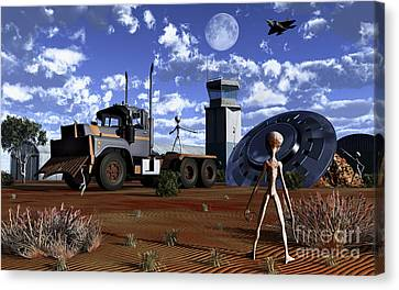 Grey Aliens Recovering Their Flying Canvas Print by Mark Stevenson