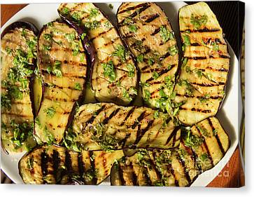 Grilled Eggplant With Dressing Canvas Print by Patricia Hofmeester