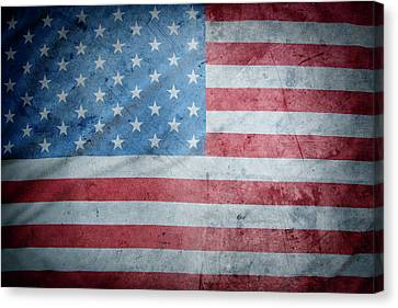 Grunge Usa Flag Canvas Print by Les Cunliffe