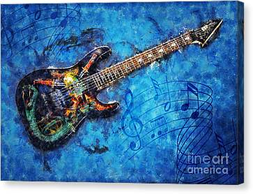 Canvas Print featuring the digital art Guitar Love by Ian Mitchell