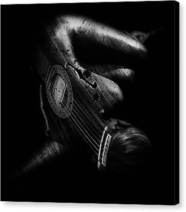 Guitar Woman Canvas Print by Marian Voicu
