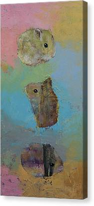 Three Little Hamsters Canvas Print by Michael Creese