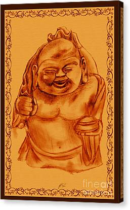 Buddha Sketch Canvas Print - Happy Buddha by RJ Roskom