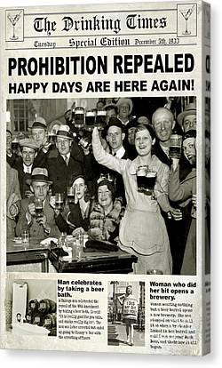 Martini Canvas Print - Happy Days Are Here Again by Jon Neidert