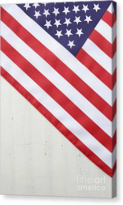 Happy Fourth Of July Usa Flag On White Wood Table Canvas Print