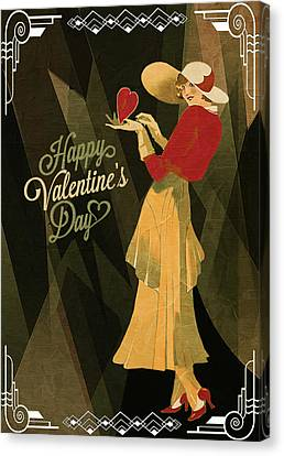 Canvas Print featuring the digital art Happy Valentines Day by Jeff Burgess