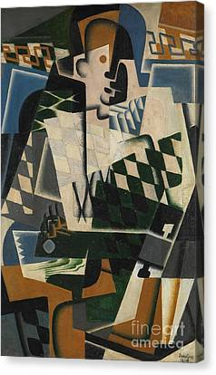 Blue Blocks Canvas Print - Harlequin With A Guitar, 1917 by Juan Gris