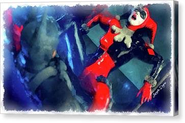 Harley Canvas Print - Harley Quinn Fighting Batman - Aquarell Style by Leonardo Digenio