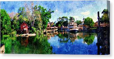 Canvas Print featuring the digital art Harper's Mill by Sandy MacGowan