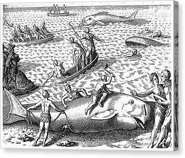 Harpooning Whales, C1590 Canvas Print by Granger