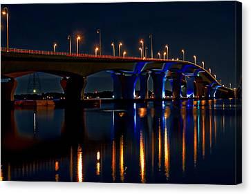 Hathaway Bridge At Night Canvas Print by Anthony Dezenzio
