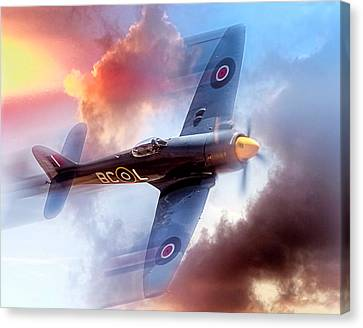 Canvas Print featuring the photograph Hawker Sea Fury by Steve Benefiel