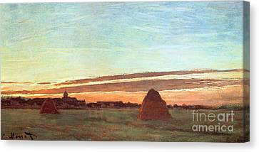 Morn Canvas Print - Haystacks At Chailly by Claude Monet