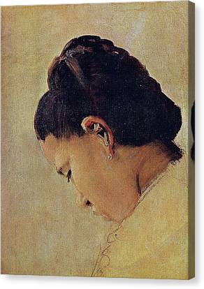Head Of A Young Girl Canvas Print by Georges Seurat
