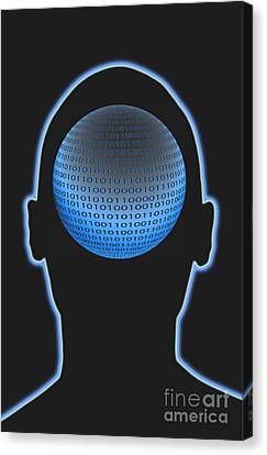 Head With Binary Numbers Canvas Print by George Mattei