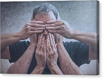Hidden Face Canvas Print - Hear, See, Speak by Scott Norris