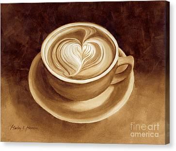 Heart Latte II Canvas Print by Hailey E Herrera
