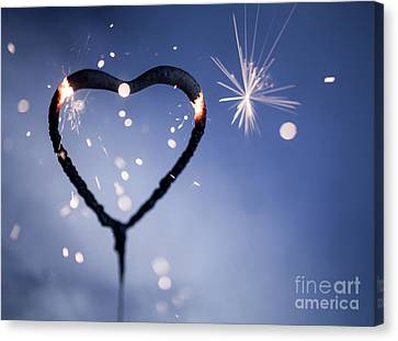 Heart Shape Sparkler Canvas Print by Kati Molin