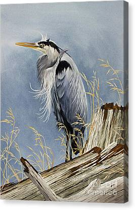 Canvas Print featuring the painting Herons Windswept Shore by James Williamson